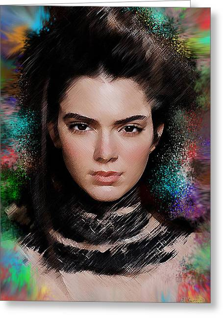Experiment Greeting Cards - Kendall Jenner Greeting Card by D Tower Jr