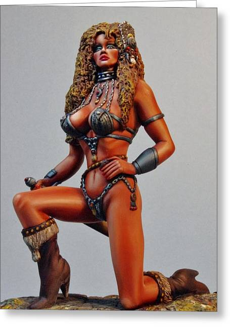 Figurine Sculptures Greeting Cards - Kendra the Warrior Greeting Card by Janine Bennett
