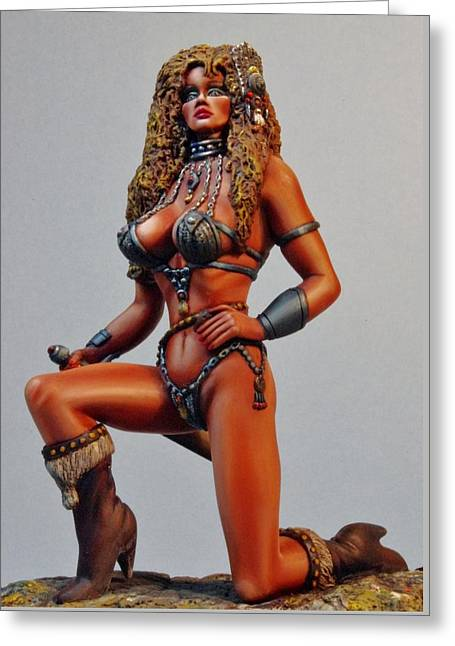 D Sculptures Greeting Cards - Kendra the Warrior Greeting Card by Janine Bennett