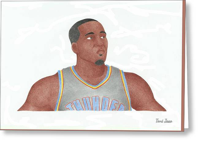 Slam Drawings Greeting Cards - Kendrick Perkins Greeting Card by Toni Jaso