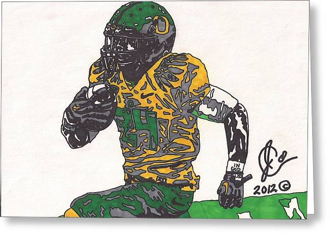Player Greeting Cards - Kenjon Barner 1 Greeting Card by Jeremiah Colley