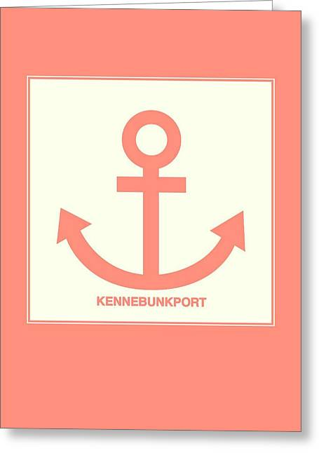 Kennebunkport Orange Anchor Greeting Card by Brandi Fitzgerald