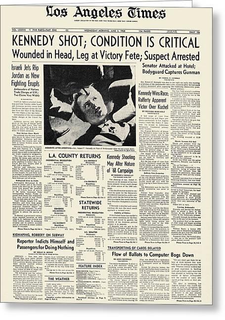 Senator Kennedy Greeting Cards - Kennedy Assassination, 1968 Greeting Card by Granger