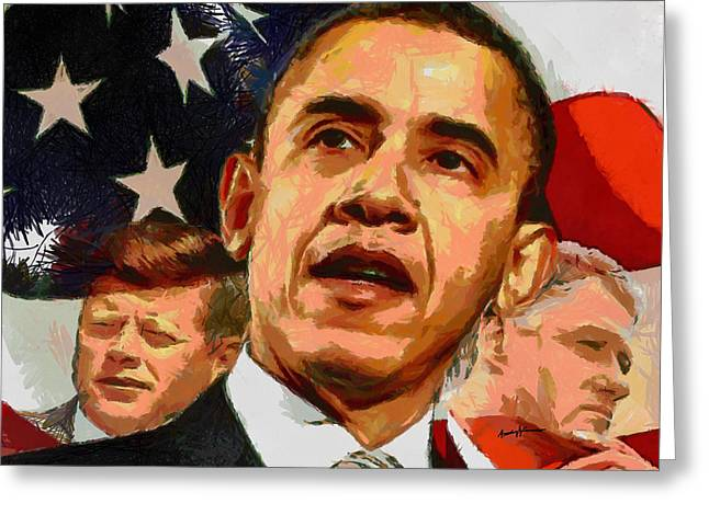Kennedy-Clinton-Obama Greeting Card by Anthony Caruso