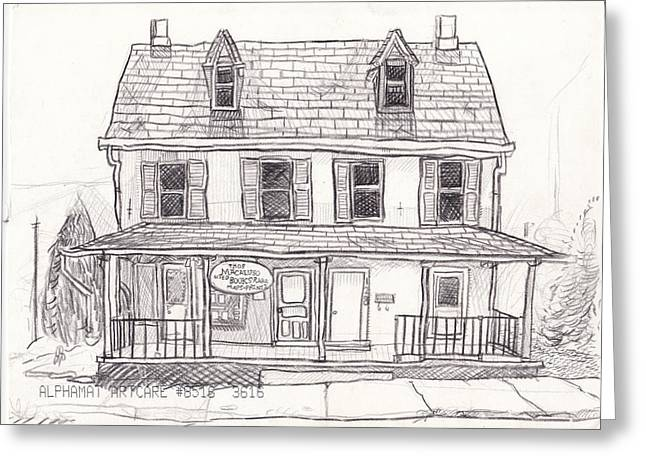 Union Square Drawings Greeting Cards - Kennett Square Macaluso Books Greeting Card by Daniel Pevar
