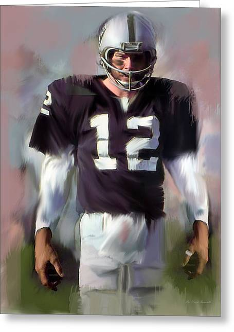 Hall Of Fame Drawings Greeting Cards - Kenny Stabler  Agony of Greatness IV Greeting Card by Iconic Images Art Gallery David Pucciarelli