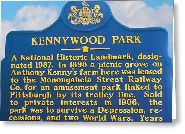 Kennywood Park Sign Greeting Card by Randy Steele