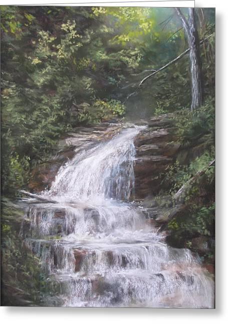 Waterfall Pastels Greeting Cards - Kent Falls Greeting Card by Jack Skinner