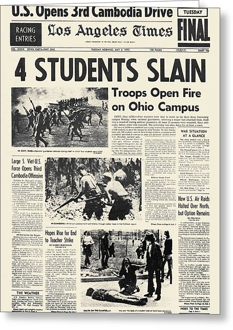 Protesters Greeting Cards - Kent State Shootings, 1970 Greeting Card by Granger