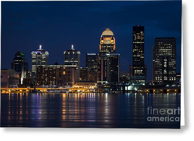 Galt Greeting Cards - Louisville at Night Greeting Card by Andrea Silies