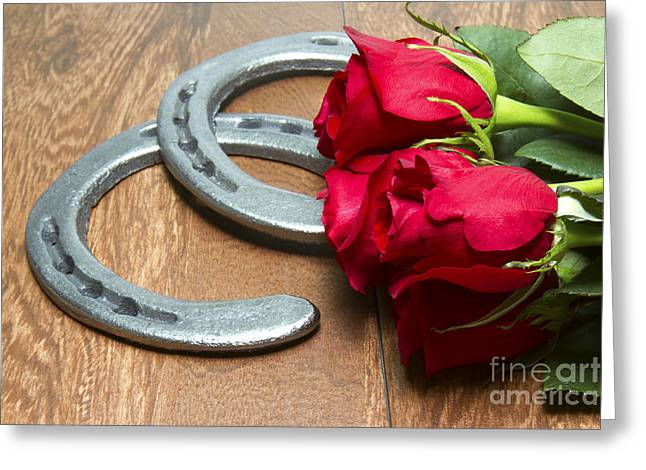 The Horse Greeting Cards - Kentucky Derby Red Roses with Horseshoes on Wood Greeting Card by Karen Foley