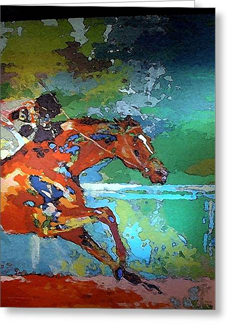 Kentucky Horse Park Tapestries - Textiles Greeting Cards - Kentucky Horse Park -  Mural of Horse Race 2 Greeting Card by Thia Stover