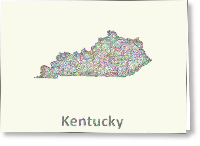 Multicolor Greeting Cards - Kentucky line art map Greeting Card by David Zydd