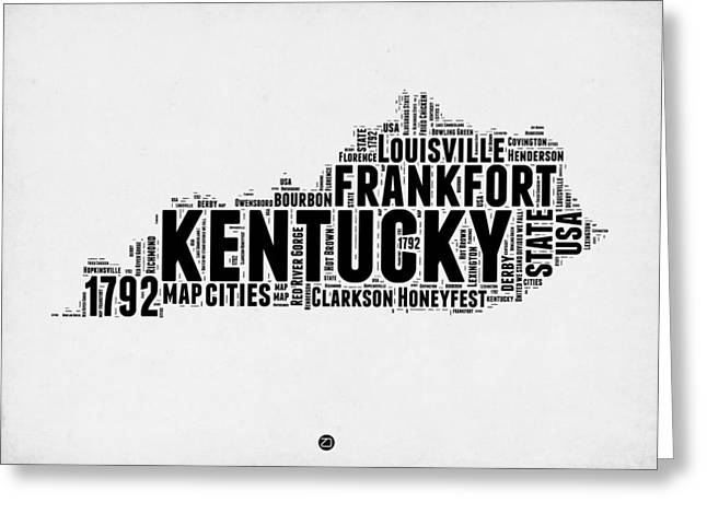 Kentucky Word Cloud Map 2 Greeting Card by Naxart Studio