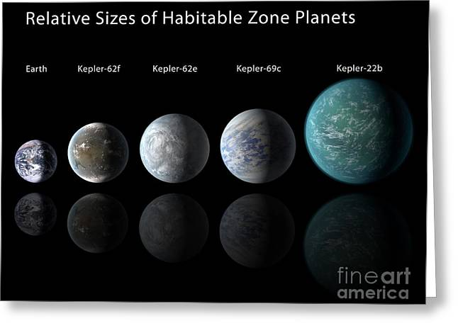21st Greeting Cards - Kepler Habitable Zone Exoplanets Lined Greeting Card by Science Source