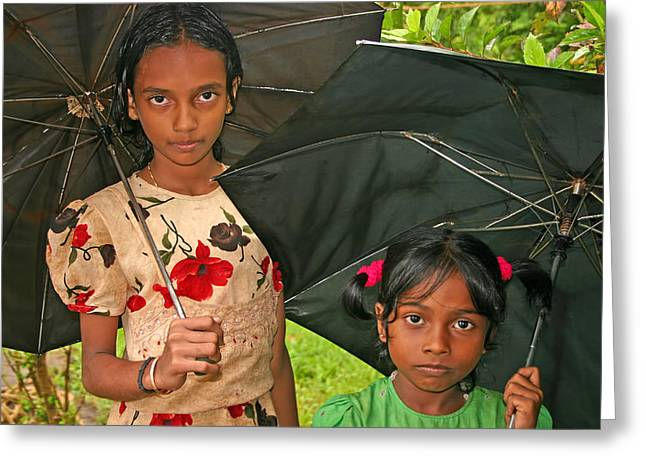 Embroidered Dress Greeting Cards - Kerela Girls Greeting Card by Robert Murray