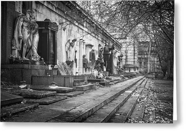 Kerepesi Cemetery Budapest Bw Greeting Card by Joan Carroll