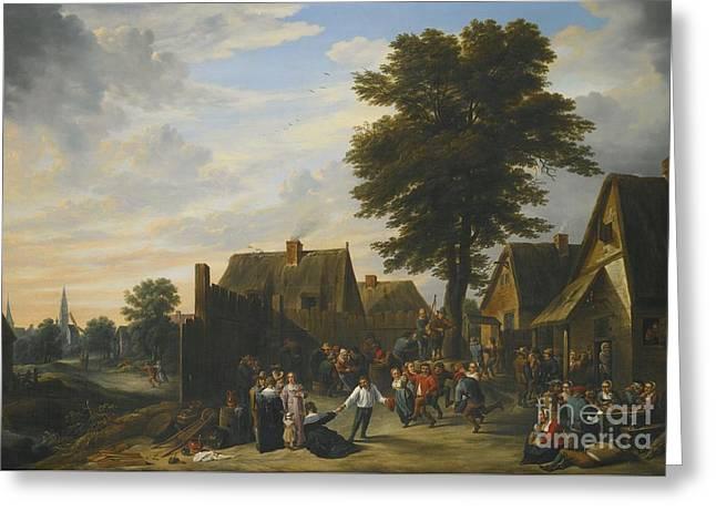 Kermesse Before The Half Moon Inn Greeting Card by David Teniers