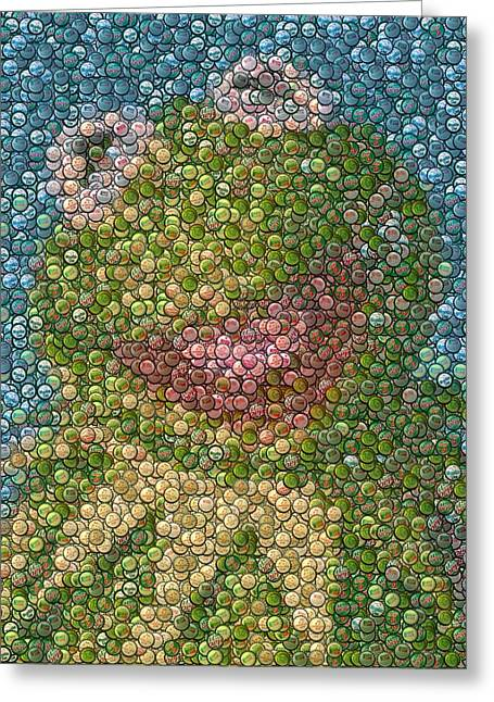 Sesame Street Greeting Cards - Kermit Mt. Dew Bottle Cap Mosaic Greeting Card by Paul Van Scott