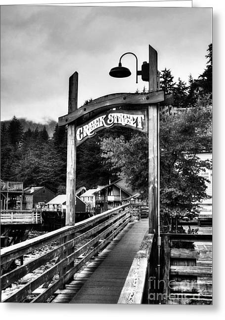 Historic Buildings Of The World Greeting Cards - Ketchikans Creek Street BW Greeting Card by Mel Steinhauer