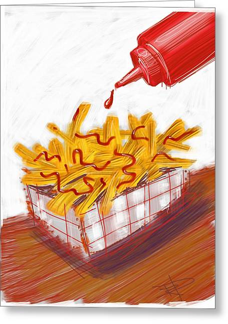 Fries Greeting Cards - Ketchup And Fries Greeting Card by Russell Pierce