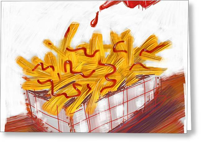 ketchup and fries Greeting Card by Russell Pierce