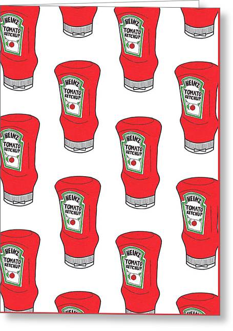 Heinz Ketchup Greeting Cards - Ketchup Pop Greeting Card by William Kuhl