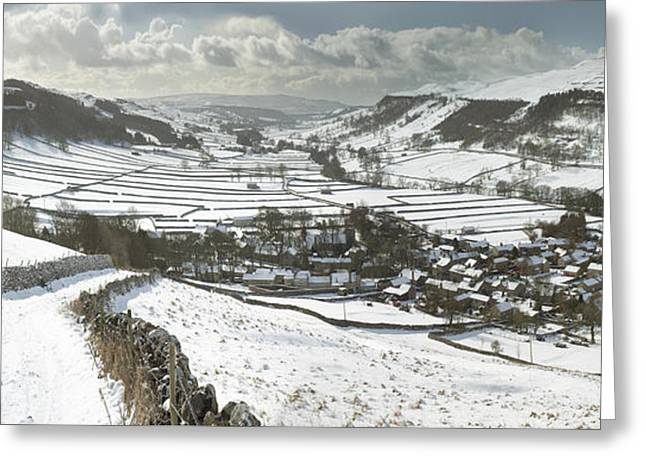March Greeting Cards - Kettlewell Winter Panorama Greeting Card by John Potter