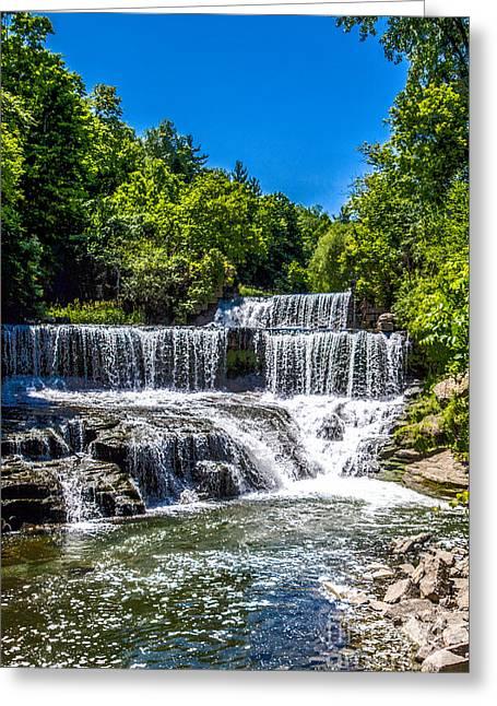 Keuka Greeting Cards - Keuka Outlet Waterfall Greeting Card by William Norton