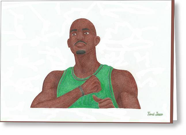 Boston Celtics Drawings Greeting Cards - Kevin Garnett Greeting Card by Toni Jaso