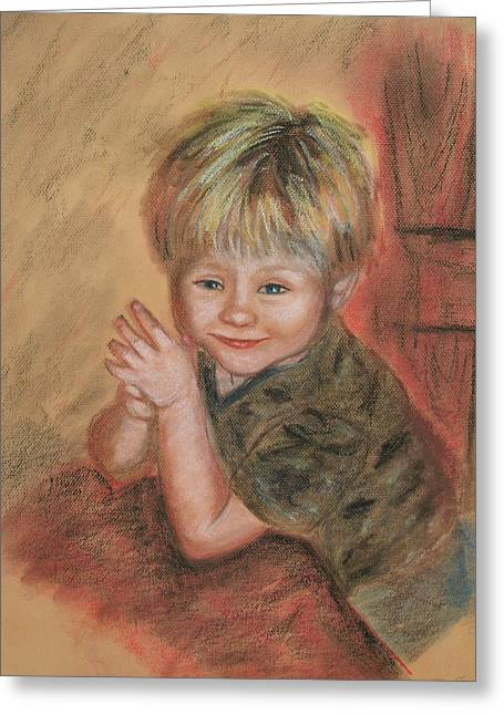 People Pastels Greeting Cards - Kevins Secret Greeting Card by Penny Ross