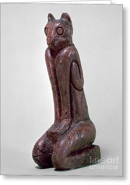 Primitive Sculpture Greeting Cards - Key Dwellers: Cat Figure Greeting Card by Granger