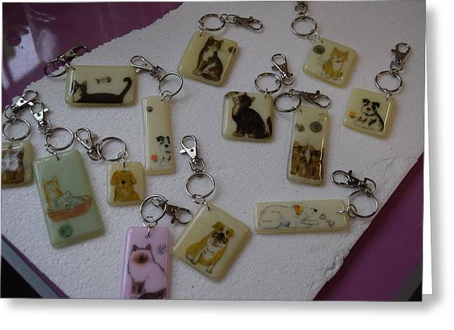 Puppies Glass Art Greeting Cards - Key Rings Greeting Card by Rosalind Duffy