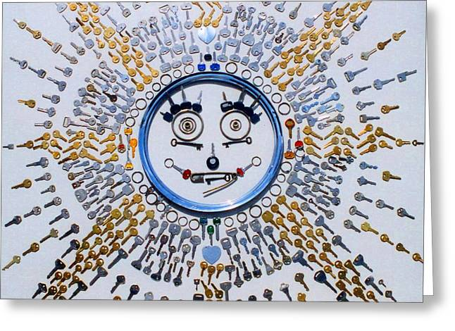 Pencil On Canvas Greeting Cards - Key Sun Greeting Card by Ru Tover