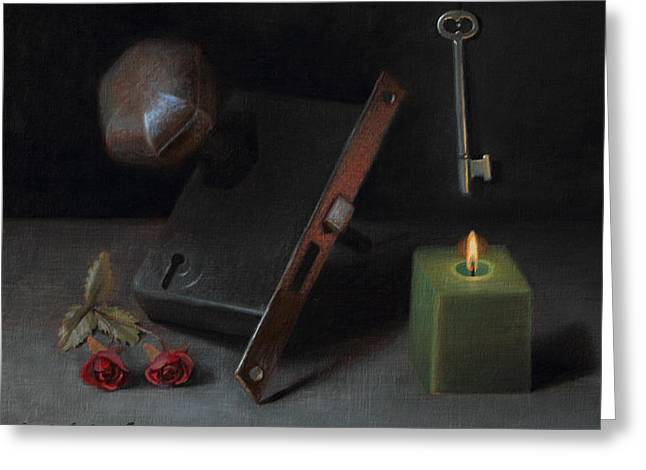 Candle Lit Greeting Cards - Key to Knowledge Greeting Card by David John Dietrich