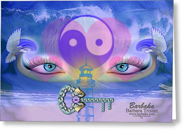 Yang Greeting Cards - Hope is the Key to Balance Love and Peace Greeting Card by Barbara Tristan