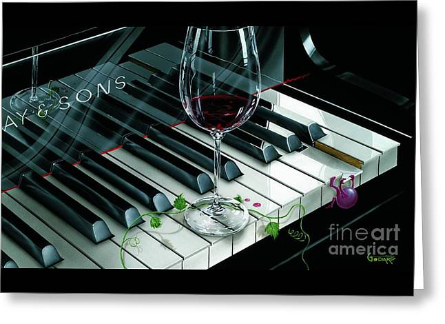 Red Wine Greeting Cards - Key To Wine Greeting Card by Michael Godard