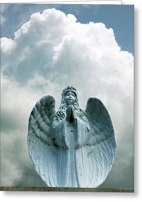 Angels Pyrography Greeting Cards - Key West Angel #5 Greeting Card by Susan Vineyard