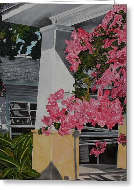 John Schuller Greeting Cards - Key West Bougainvillea Greeting Card by John Schuller