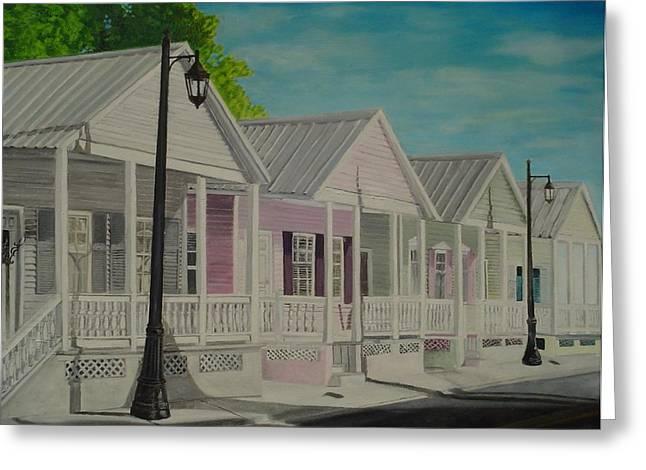 John Schuller Greeting Cards - Key West Cottages Greeting Card by John Schuller