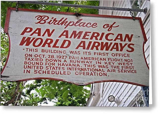 American Airways Greeting Cards - Key West Florida - Pan American Airways Birthplace Greeting Card by John Stephens