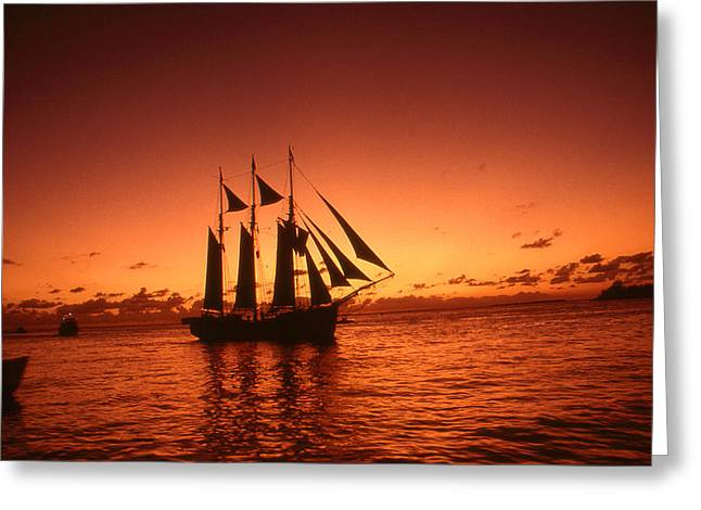 Red Sunset Sky At Key West Florida Greeting Card by Art America Online Gallery