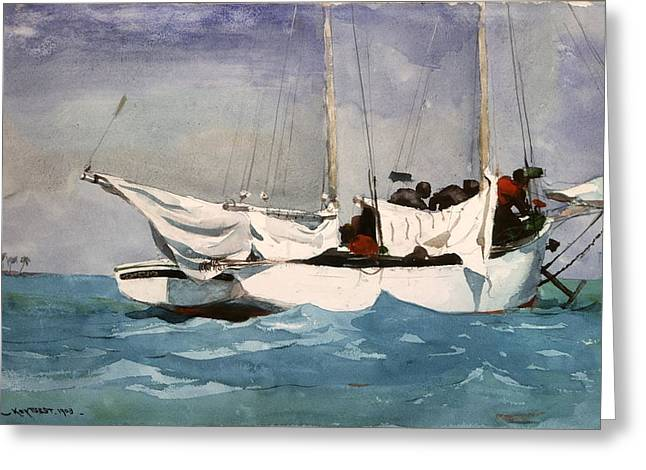 Winslow Homer Digital Art Greeting Cards - Key West Hauling Greeting Card by Winslow Homer