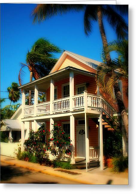 Florida House Greeting Cards - Key West House Greeting Card by Perry Webster