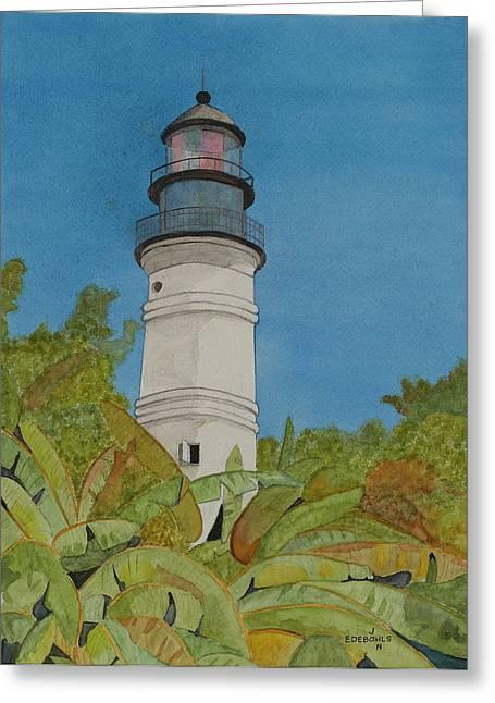 Key West Lighthouse Greeting Card by John Edebohls