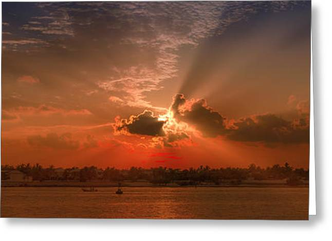Key West Sunset Panoramic Greeting Card by Melanie Viola