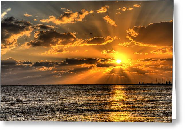Florida Keys Greeting Cards - Key West Sunset Greeting Card by Shawn Everhart
