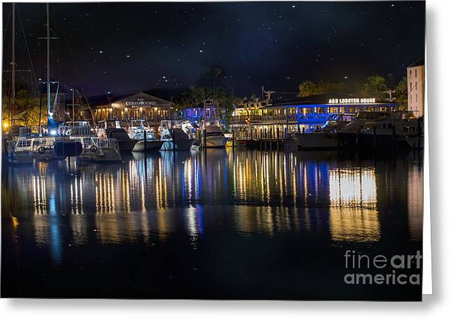 Panoramic Ocean Greeting Cards - Old Town Harbor Key West under a night sky Greeting Card by Juli Scalzi