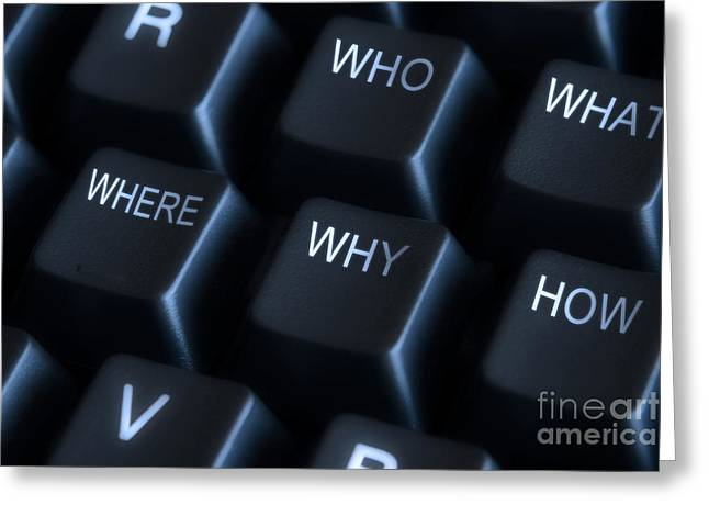 Label Photographs Greeting Cards - Keyboard with question labels Greeting Card by Blink Images
