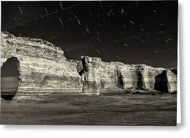 Pyramids Greeting Cards - Keyhole To The Stars - Black-and-White Greeting Card by Bill Kesler